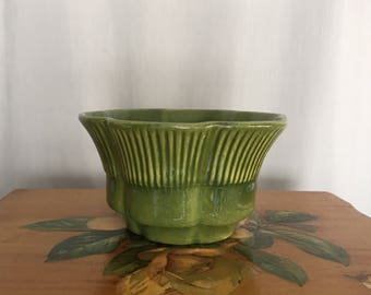 Green Planter Haeger Vintage Pottery Ceramic Dark Green Made in USA