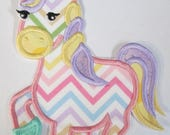Unicorn Iron On or Sew On Embroidered Applique