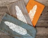 Hand Printed Flour Sack Towel - Big Tea Towel - Feather Design - 100% cotton linens - Set of 3