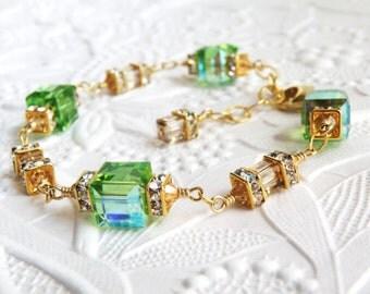 Peridot Crystal Bracelet, Green Swarovski Cube, Gold Filled, Modern Bridesmaid, Spring Wedding Jewelry, August Birthday Gift, Handmade