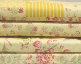 Daffodil Yellow Whitewashed Cottage Half Yard Fabric Bundle - Moda - 3 Sisters