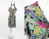 40s Dress Floral Hood XS / 1940 Vintage Dress Swing Skirt  / Bouquets to Art Dress