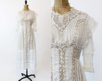 1910s Edwardian Dress Embroidered XXS /  Antique Lace Cotton Dress /  Downton Abbey Wedding Dress