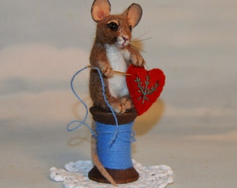 Stitch Mouse Realistic Life Size Tan Alpaca & camel Needle Felted Vintage Wooden Thread Spool with Red Heart by Stevi T