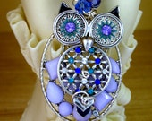 Purple Rhinestone OWL Pendant Necklace, Owl Lover, Handmade Jewelry, Gift for Her-Owl Jewelry-Nature