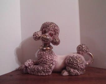 Vintage Poodle Lavender Gold Poodle Figurine Statue Ceramic Glass kitsch Hollywood Glamour Atlantic Mold Co