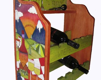 TUSCAN WINE RACK, Ready to ship, Wine Rack, counter wine rack, whimsical wine rack, floor wine rack, red wine rack, wine, wine display