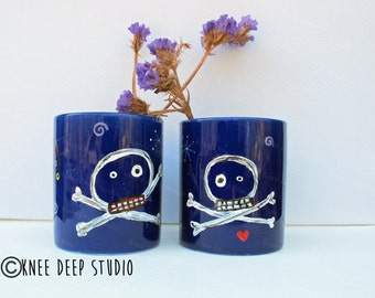 Skull and Crossbones Handpainted Espresso Cups Set of Two His and Hers Original Painting on Cobalt Ceramic Cups Contemporary Home Decor