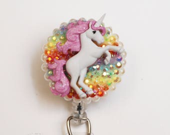 Magical Unicorn ID Badge Reel - Retractable ID Badge Holder - Zipperedheart