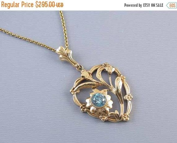 Holiday Sale Vintage Retro Moderne heart shaped 10k gold genuine blue zircon pendant necklace signed Esemco Shiman Brothers