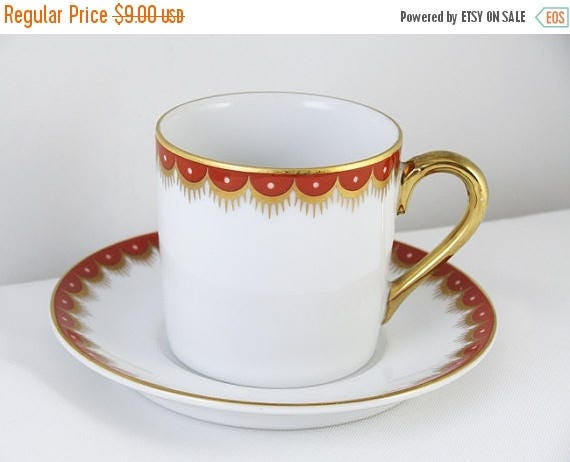 SPRING CLEANING SALE Vintage Fitz and Floyd white red hand painted demitasse cup and saucer / porcelain / china / bone china / tea / coffee