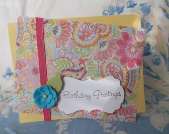 Retro Flowery Card, Handmade Birthday Greetings Card, Card with Blue Flower,
