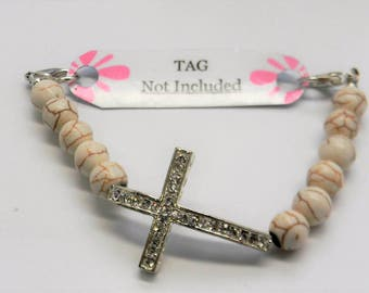 Beaded Medical ID Replacement Bracelet Strand ~ Rhinestone Cross ~ Use with your Medical Tag, Charm or Watch Face Sideways SILVER Cross