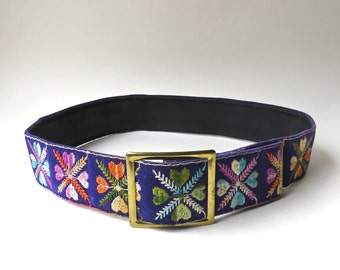 60s/70s vintage Boho Colorful Floral Embroidered Purple Velvet Cinch Belt / Hippie Festivals Hipster Indie Boho Embroidered Velvet Belt