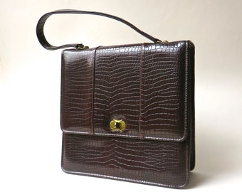 60s vintage Reptile Embossed Dark Brown Faux Leather Handbag
