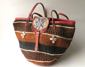 Large vintage Earth Tone Striped Woven Sisal Market Bag with Cowrie Shells and Painted Elephant Leather Flap  / Farmers Market / Beach Bag