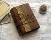 Jordan River - Caramel Leather Journal, Tea Stained Pages, Vintage Trim, Vintage Postcard - OOAK
