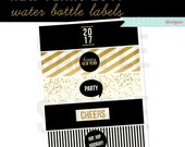 New Years 2017 Water Bottle Labels, Printable Drink Wrappers, New Years Printable, New Years Party, Black and Gold, New Years Eve