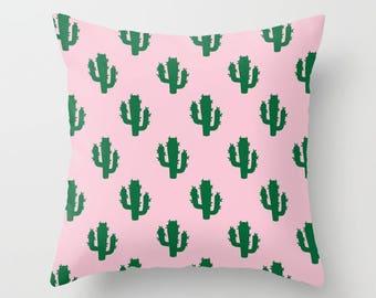 Green & Pink Cactus Pattern Pillow | Throw Pillow | Pillow Case | Pillow Cover | Office Decor |  Home Decor | Statement Pillow