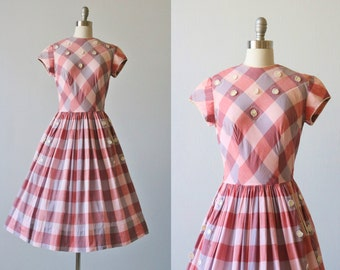 Vintage 1950s Plaid Cotton Full Skirt Dress / 50s Dress / Pleated Skirt / Pocket Detail