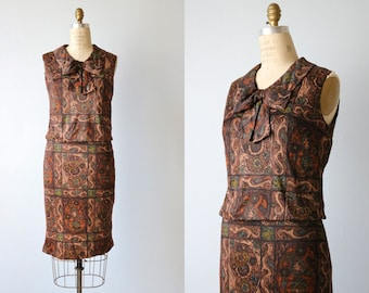 Vintage 1960s Brown Multi Color Sheath Dress / 60s Sheath Dress / Sleeveless / Romanesque
