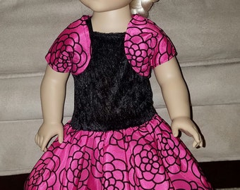 18inch Doll Hot Pink and Black Party Dress set