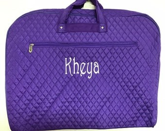 Personalized Quilted Garment Bag Dance Ballet Cheer Pageant Purple Solid