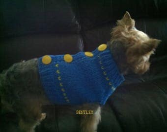 Blue Dog Sweater, Hand Knit Pet Sweater, Button Up Back, Size MEDIUM, Sweater Vest Blue