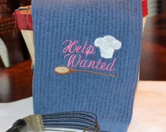 Embroidered Help Wanted Kitchen Towel