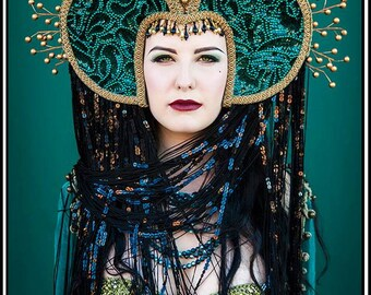 Renaissance Magic... Emerald Green Sequined Headdress