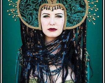 Renaissance Magic... Emerald Green Sequined Headdress