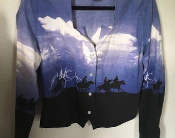 Vintage Wrangler Horse Lightning Denim Pearl Snap Button Up Womens Shirt Western Medium M