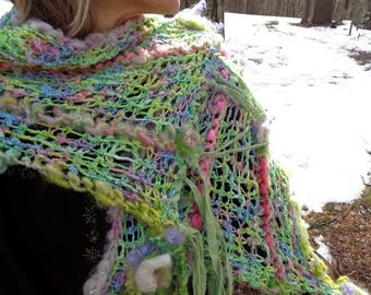 hand knit art yarn wool silk cotton enchanted forest spring faerie scarf wrap - springtime song