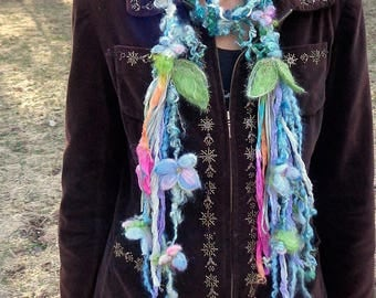 scarf lariat fantasy fiber art yarn braid garland scarf adornment - blue garden surprise