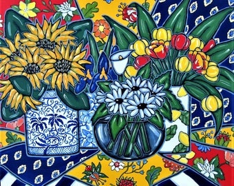 """Original Acrylic Still Life Painting, Sunflower art canvas, 30"""" x 24"""", French Country Decor, Tulips, Daisies, red, blue, yellow, gift idea"""