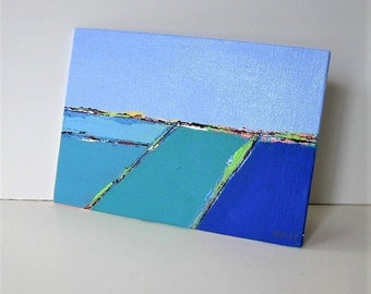 "Original blue and turquoise acrylic seascape painting, Contemporary abstract art, landscape canvas, 7"" x 5"", Wall Decor, gift idea"