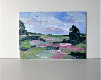 "Small Impressionist landscape painting on canvas, green art canvas, Expressionist wall decor, 5"" x 7"", gift idea"