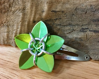 Shiny Lime Green Scale Flower Barrette