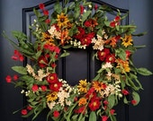 Spring Summer WREATH, Spring Wreaths for Front Door, Country Porch Wreath