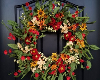 Summer WREATH, Summer Wreaths for Front Door, Country Porch Wreath