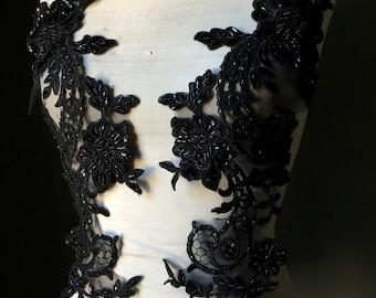BLACK Beaded Applique Pair for Grad, Illusion Gowns, Lyrical Dance, Ballet, Bridal, Costumes PR 33bl