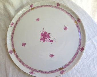"Antique Herend Platter 14-1/4"" Round Chinese Bouquet Raspberry"