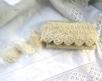 """Antique  Lace Trim Schiffli/Chemical in Ivory Cotton 5 Yards x 2"""" Wide"""