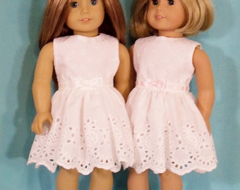 18 inch Doll  White Eyelet Party Dress and Shoes