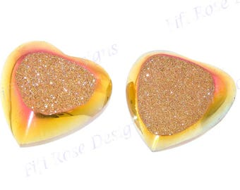 "3/4"" Pair Of Heart Strawberry Mocha Titanium Coated Druzy 19x19mm Cabochon"