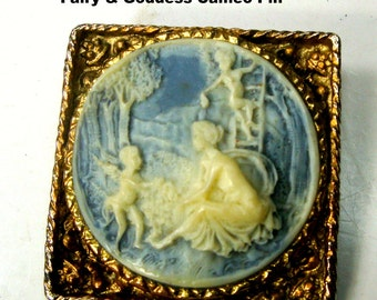Cameo Pin, Fairies with Goddess Brooch,  Round Blue and White Resin on Square Gold Filigree Setting, Classical, 1960s