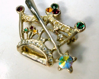 SALE, Rhinestone Crown Pin, 1980s Multicolor Stones on Silvertone Metal, Royalty or Religious Christian Brooch. INRI