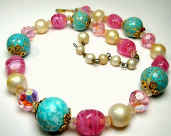 CORO Choker Necklace, Single Strand Spring Easter Glass and Crystal Art Beads, Pastel Pink, Aqua n Pearls, Adjustable  1960s