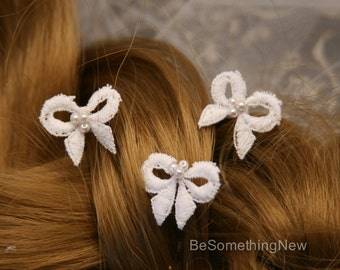 Wedding Hair Pins Vintage Lace Bow Bridal Hair Pin Set, Hair Bows Bobbie Pins Hair Jewelry Beaded Headpiece Flower Girl Bridesmaids Hair
