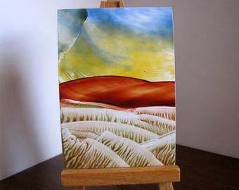 ACEO Blue & Yellow Skies / Encaustic (Wax) Original Art / Blue, Yellow, Rust Brown / SFA (Small Format Art)